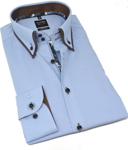 OLYMP Level Five, body fit, Button-down, Bleu
