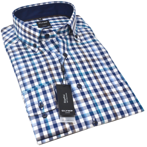 OLYMP Luxor, modern fit, Button-down, Braun