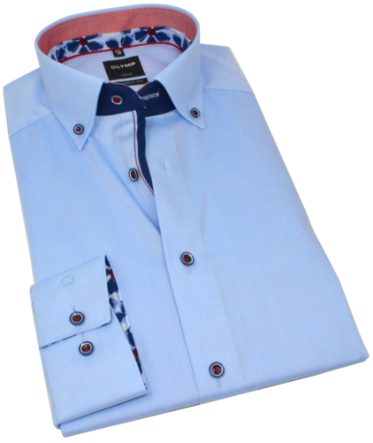 OLYMP Luxor, modern fit, Button-down, Bleu