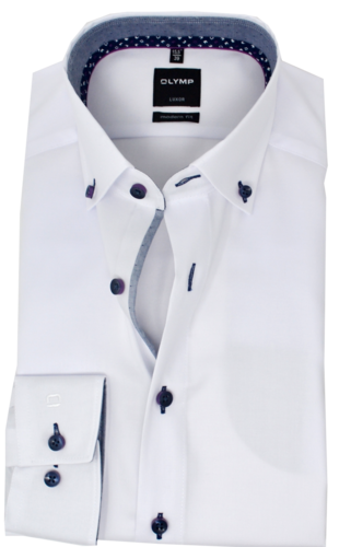 OLYMP Luxor, modern fit, Button-down, Weiß