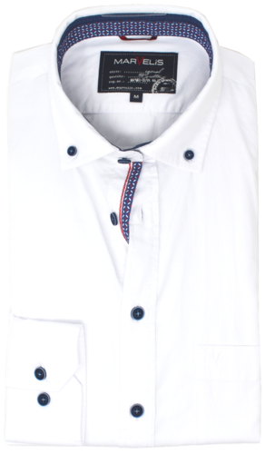 Marvelis, Casual Langarmhemd, Button Down, weiß
