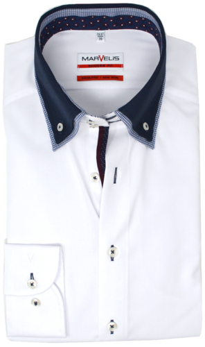 Marvelis Herrenhemd, langarm, modern fit, Button-Down, weiß