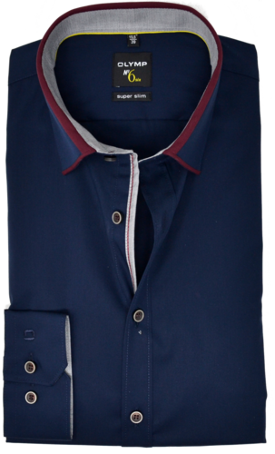 OLYMP No. Six, super slim, Button-down, Marine