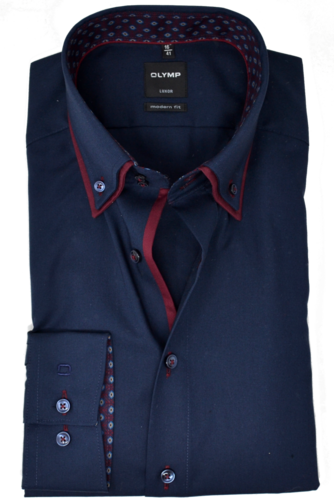 Olymp Luxor modern fit Hemd Langarm Button Down Kragen Navy