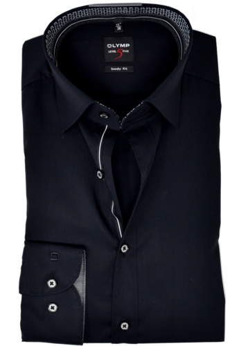 Olymp Herrenhemd Level Five 5 Body Fit Langarm Under-Button-Down Comfort Stretch Schwarz
