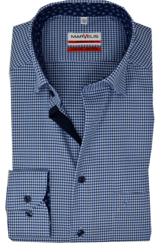 Marvelis Modern Fit Under Button Down Kragen bügelfrei Muster blau Reine Baumwolle