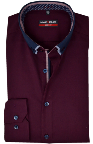 Marvelis Herrenhemd,langerm, Button Down, aubergine