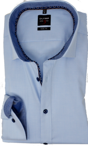OLYMP No. Six, super slim, Under-Button-down, Bleu